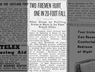 Two firemen hurt, one in 20-foot fall. Frank Becker received shoulder injuries from falling bricks.