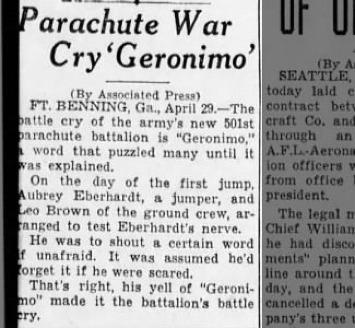 Paracaídas War Cry 'Geronimo'