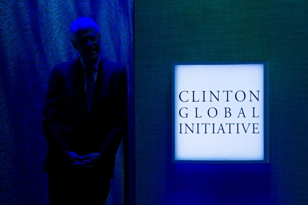 Former U.S. President Bill Clinton listens to the speech of U.S. President Barack Obama during the seventh annual meeting of the Clinton Global Initiative (CGI) at the Sheraton New York Hotel on September 21, 2011 in New York City.
