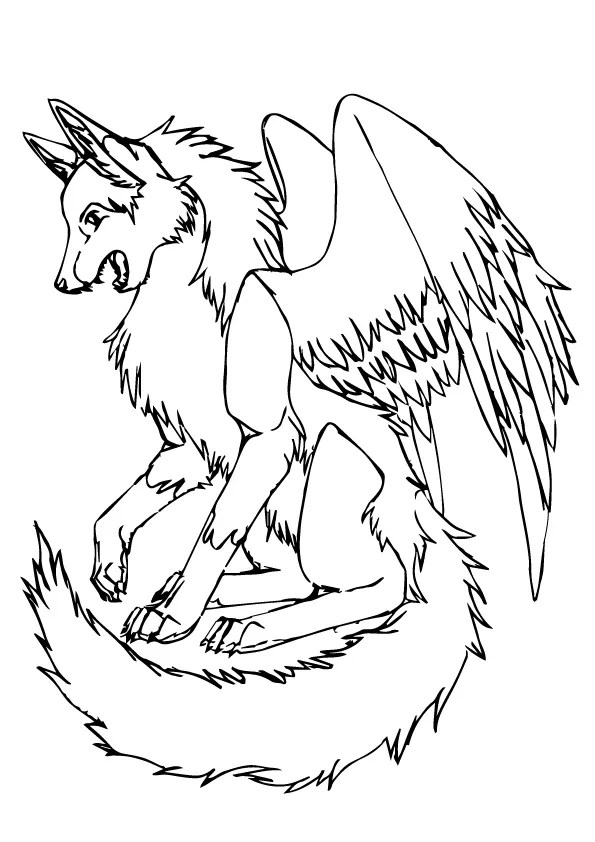 Free & Printable Wolf with Wings Coloring Picture