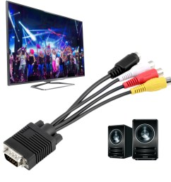 new vga to video tv out s video av and 3 rca female converter cable adapter bv [ 1010 x 1010 Pixel ]