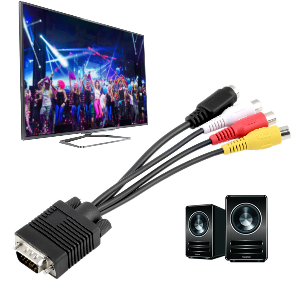 hight resolution of new vga to video tv out s video av and 3 rca female converter cable adapter bv