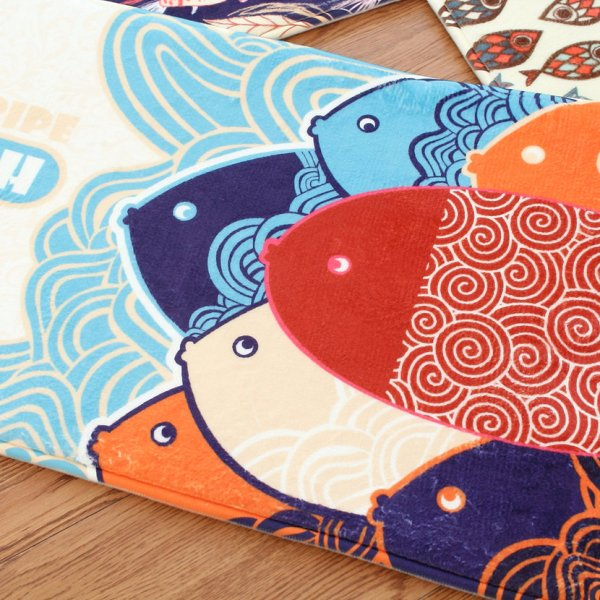Colorful Fish Flannel Carpet Bathroom Water Absorption