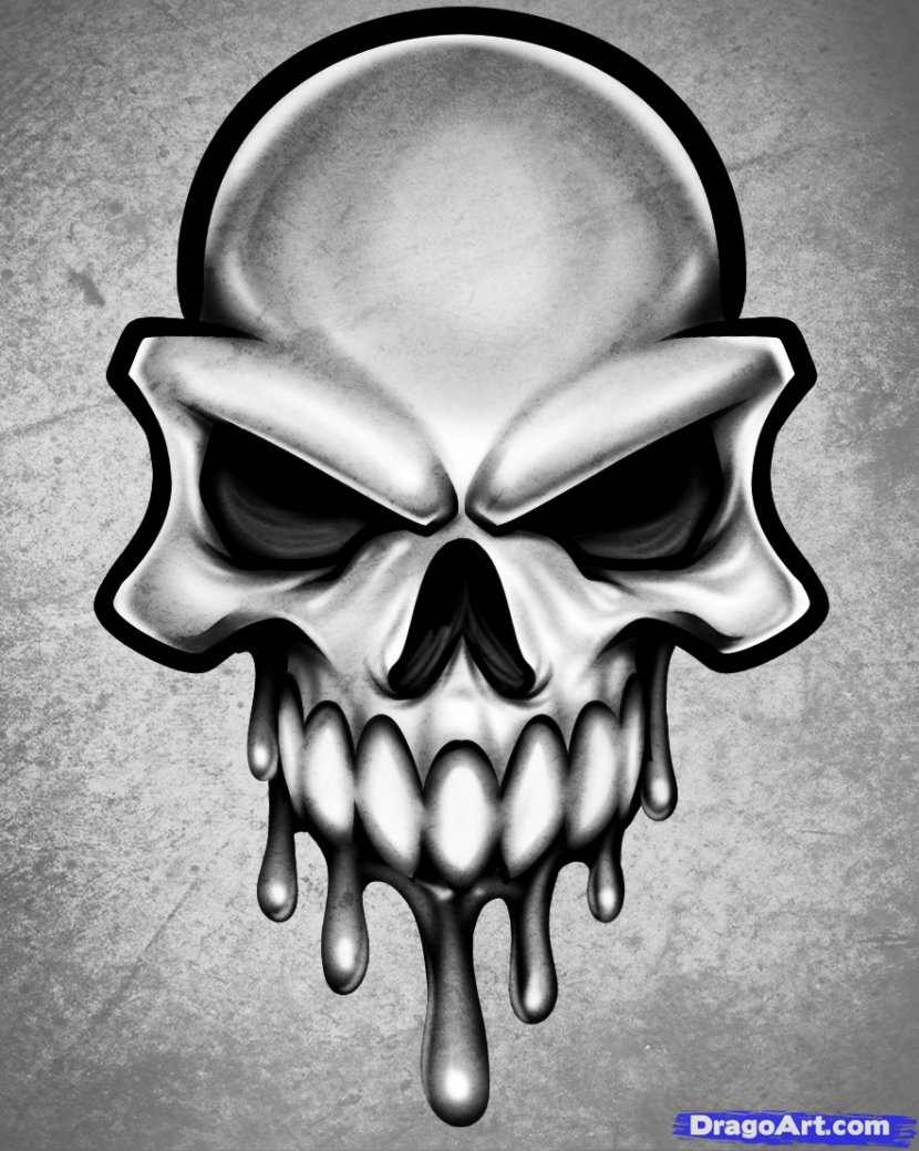Drawing Skull Art Clip Human Skeleton Easy Drawings Transparent Png