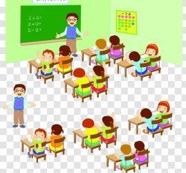 Lesson Illustration Student Child Teacher Learning Cartoon Empty Classroom Transparent PNG