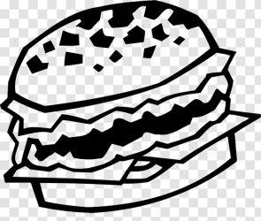 Hamburger Black And White Fast Food Vector Burger Transparent PNG