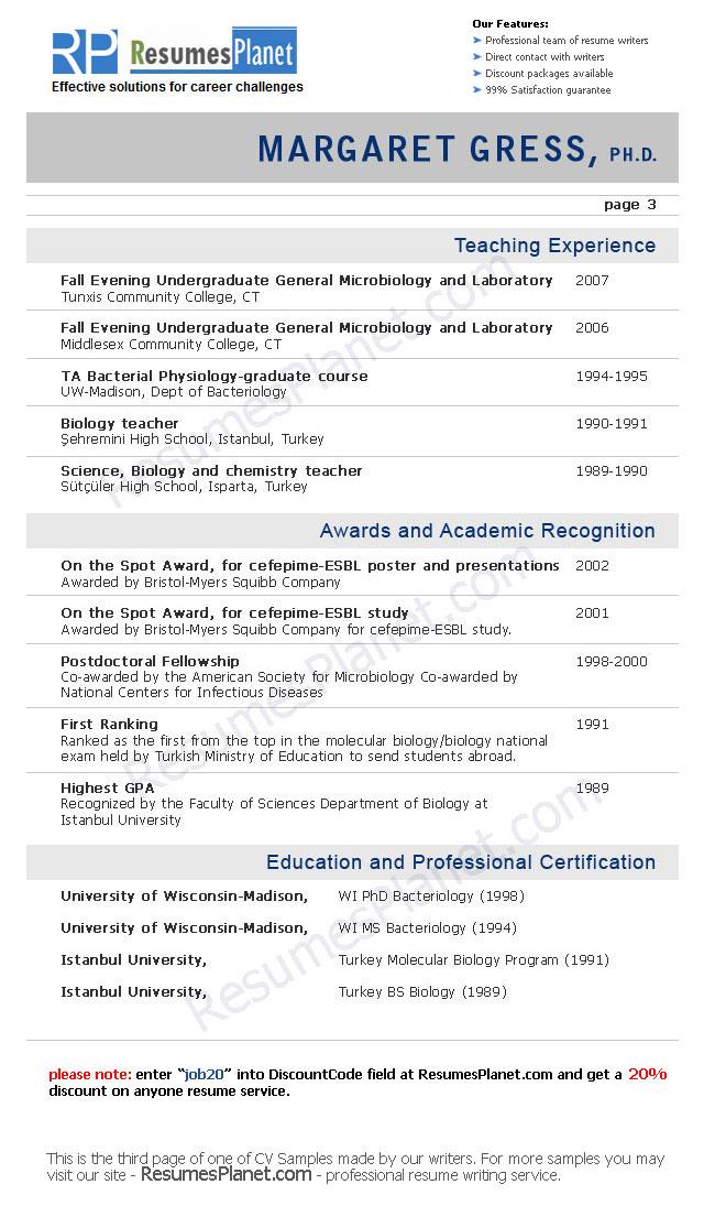 CV Samples  ResumesPlanetcom