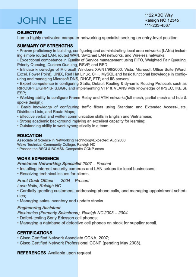 entry level resume sample resumesplanet - How To Write A Entry Level Resume