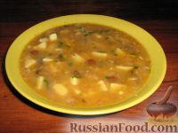 Фото к рецепту: Суп грибной с чечевицей