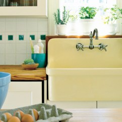 Farmers Sinks For Kitchen Zephyr Hood Farmhouse With Vintage Charm Southern Living Butter Yellow Sink