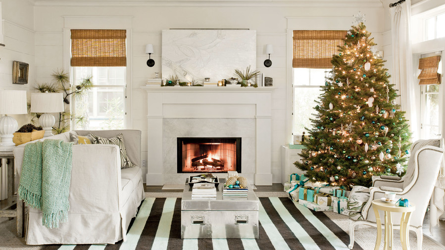 living room tree bookcase ideas our favorite rooms decorated for christmas southern coastal