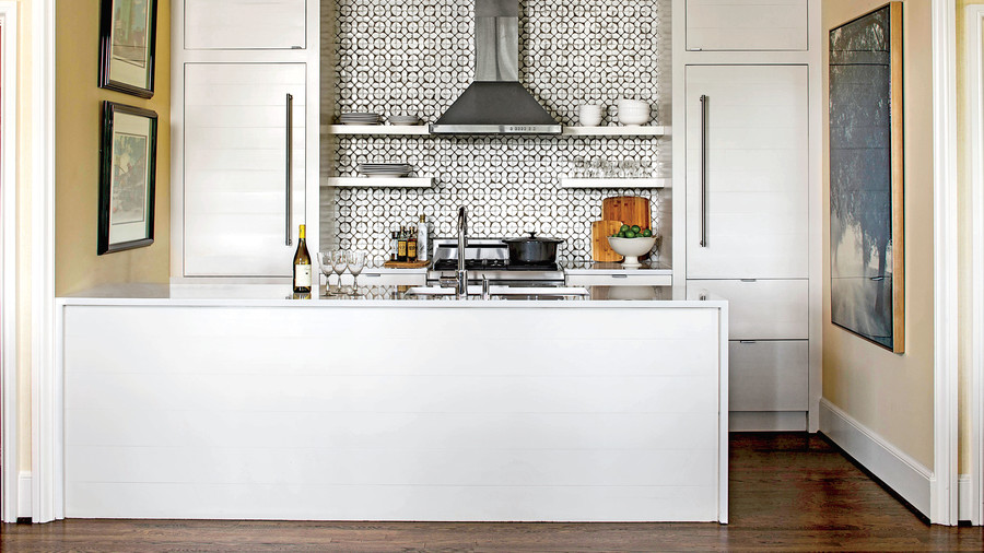 decorating kitchen farmhouse faucets small space tricks southern living glossy white with tile backsplash
