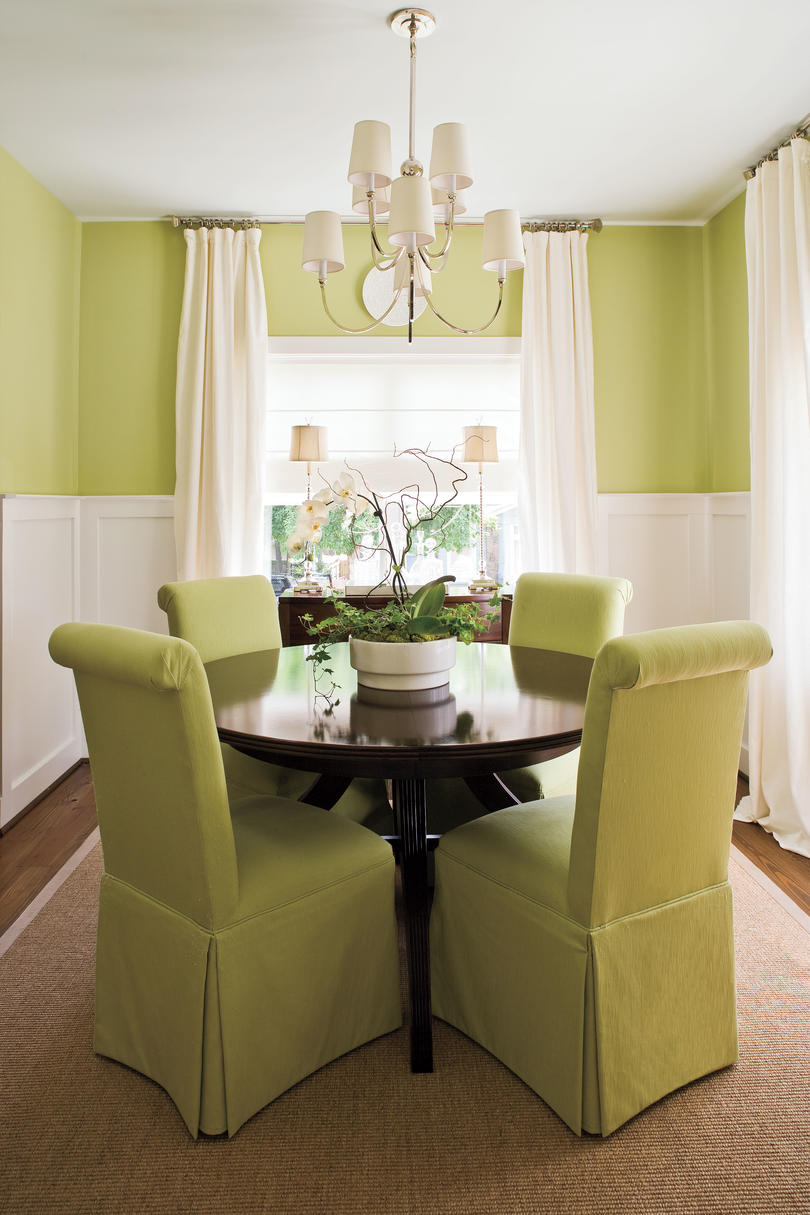 green dining room table and chairs chair covers party hire stylish decorating ideas southern living make a small look larger