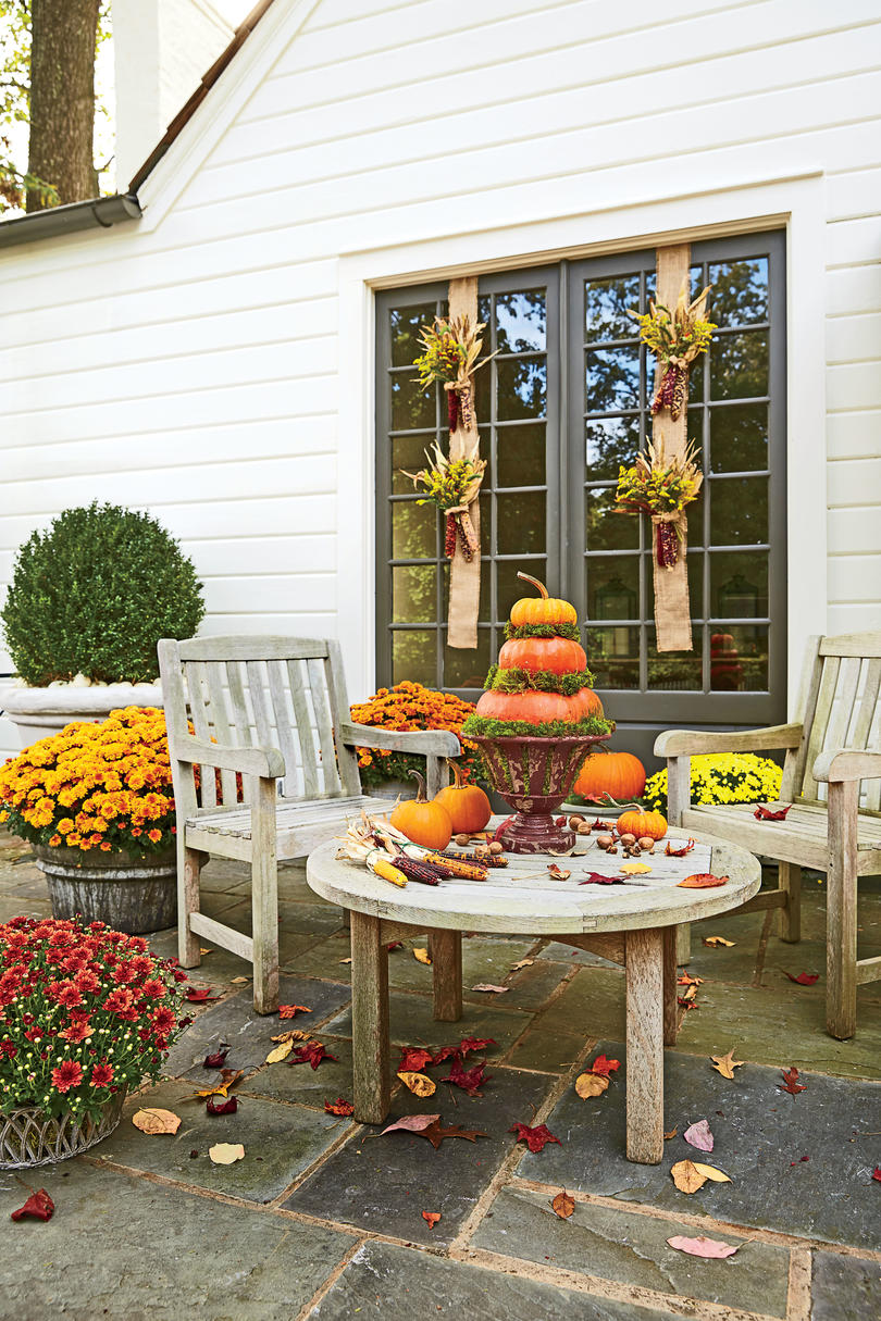 Southern Living Front Porch Fall Decorating