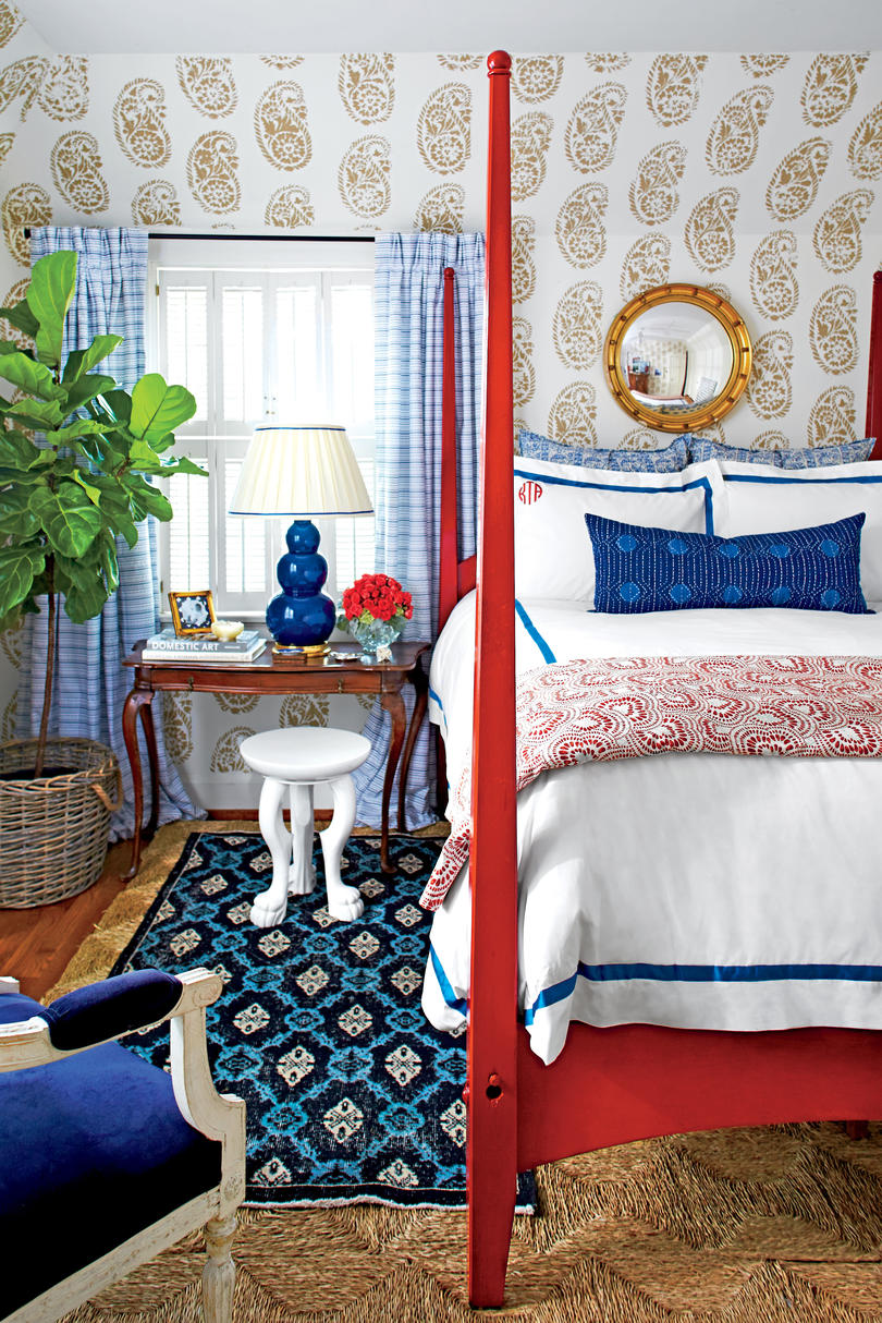 Blue Animal Print Wallpaper Beautiful Blue Bedrooms Southern Living