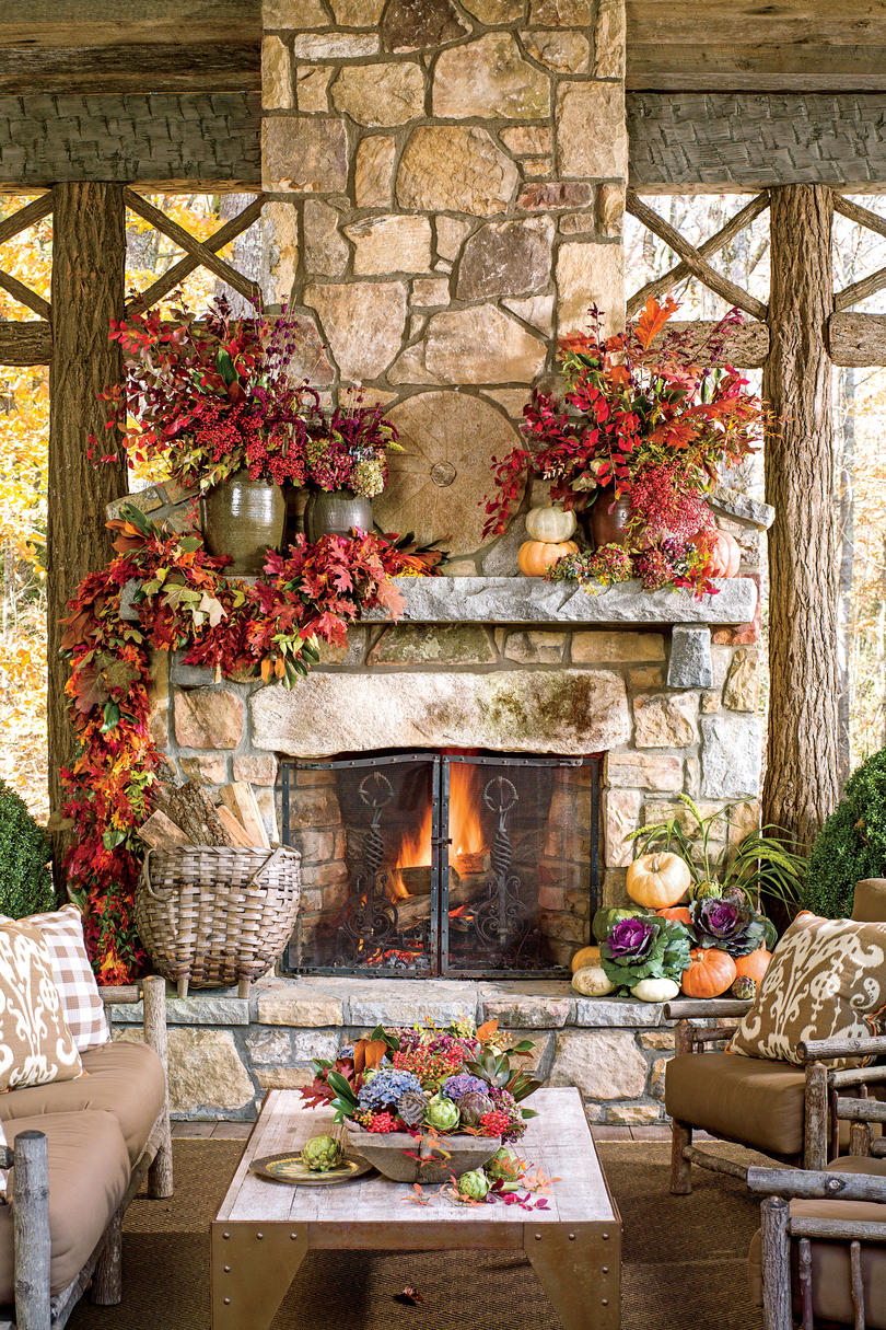 Fall Leaves Nd Burlap Wallpaper 25 Fall Mantel Decorating Ideas Southern Living