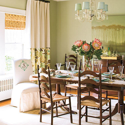 green dining room table and chairs isle of palms beach chair rentals stylish decorating ideas southern living layer window treatments