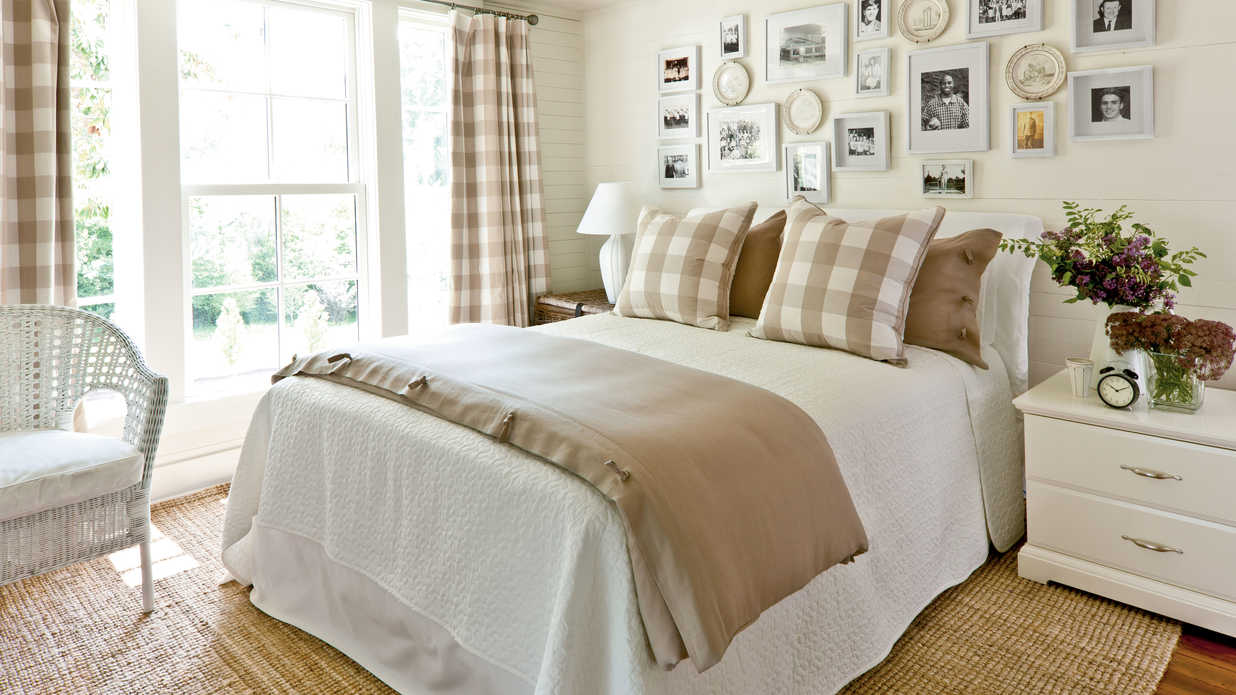 Khaki Gingham Bedroom  Gracious Guest Bedroom Decorating Ideas  Southern Living