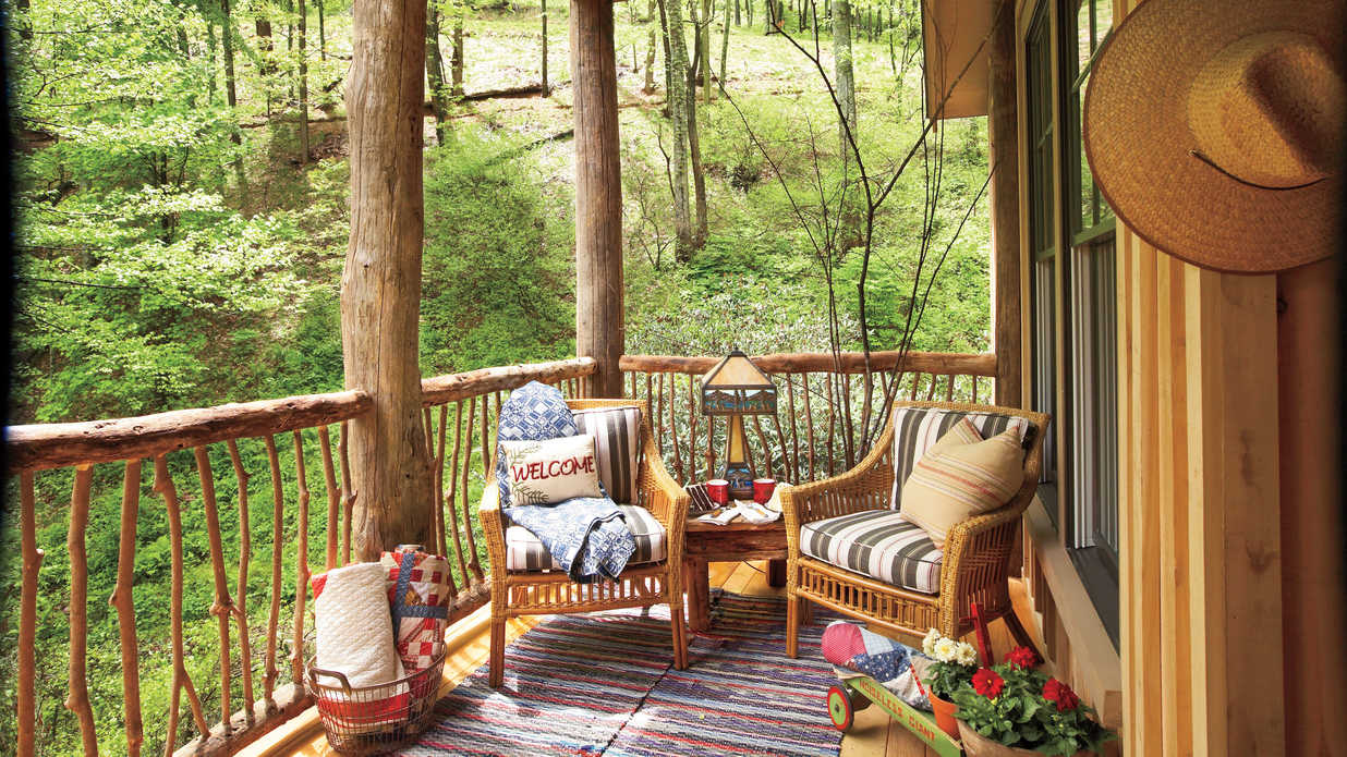 Natural Woodland Porch  Porch and Patio Design