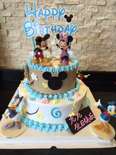 上海雙層米奇米妮迪士尼創意個性奶油卡通生日蛋糕同城配送包郵_快樂湖南論壇