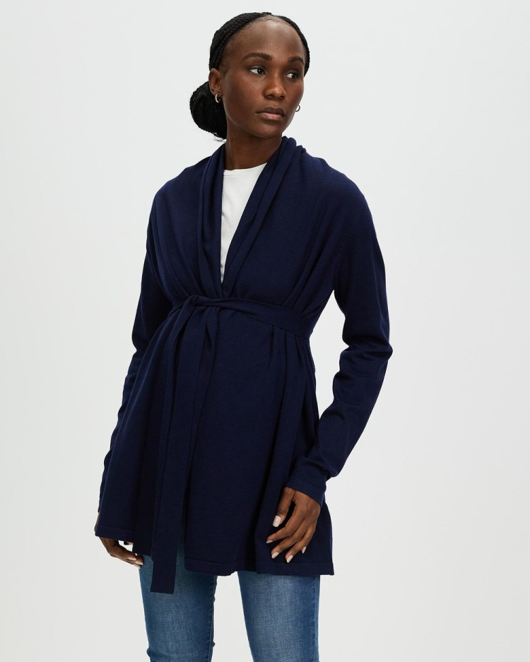 Angel Maternity Knitted Waist Tie Cardigan Jumpers & Cardigans Navy