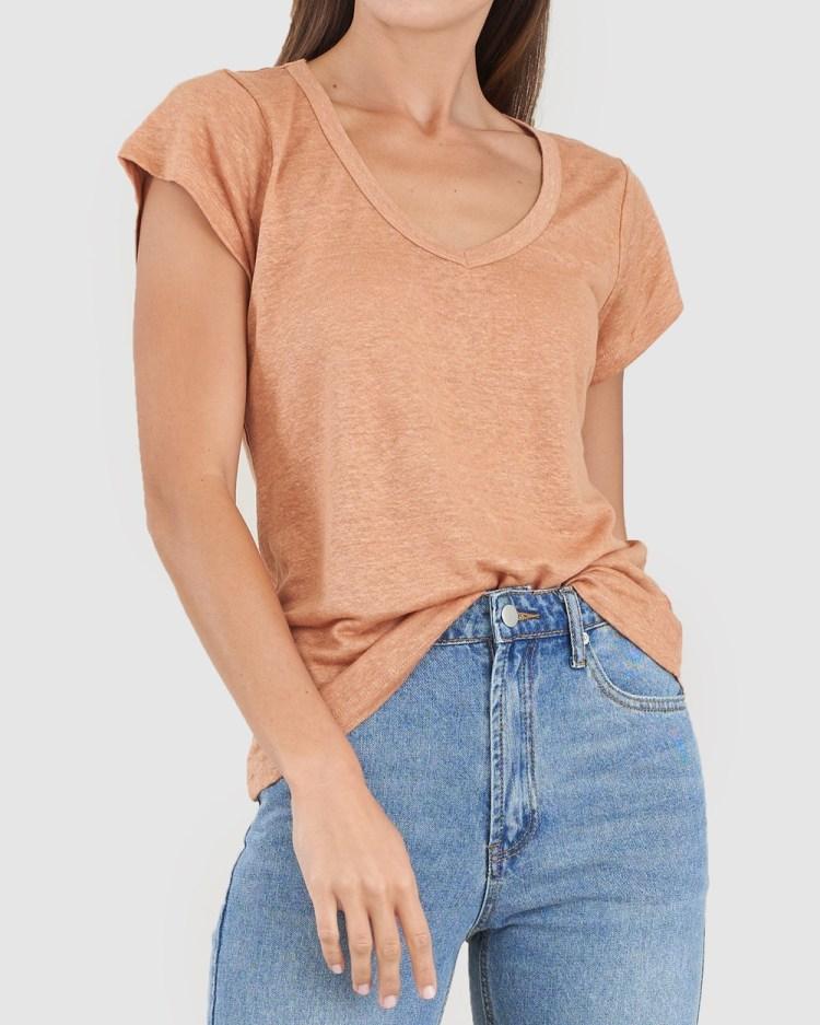 Amelius Newport Linen T Shirt T-Shirts & Singlets Rust T-Shirt
