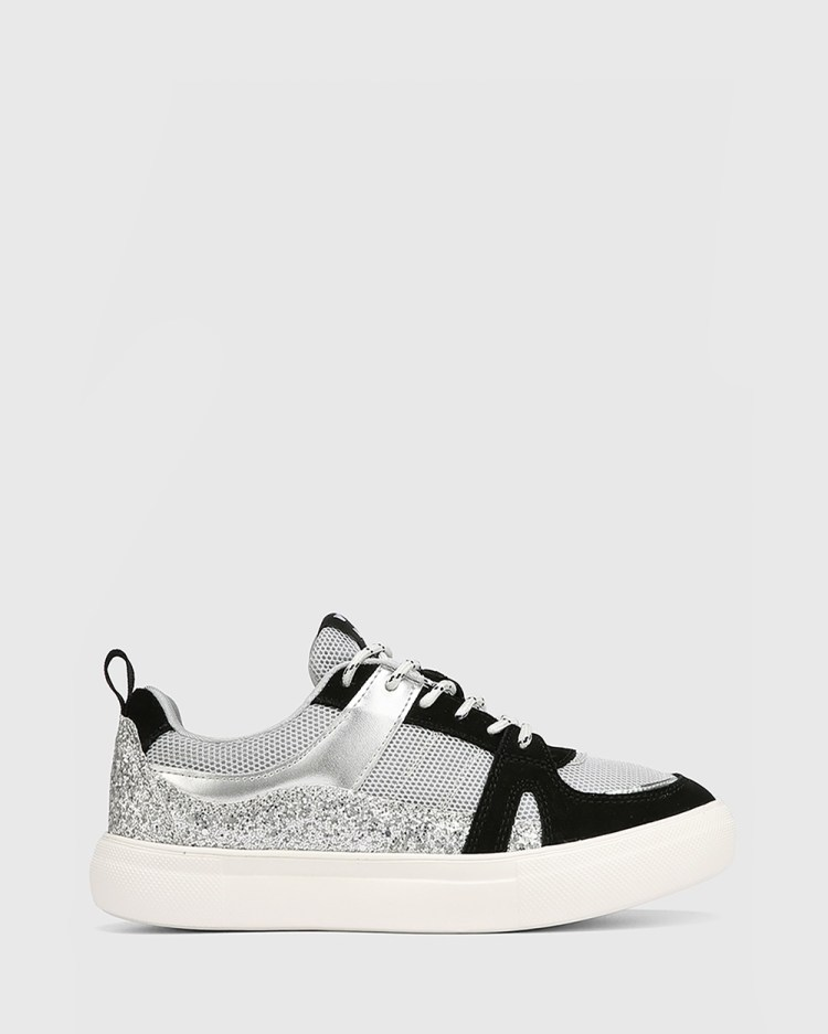 Wittner Oswald Leather & Mesh Lace Up Sneakers Lifestyle Grey