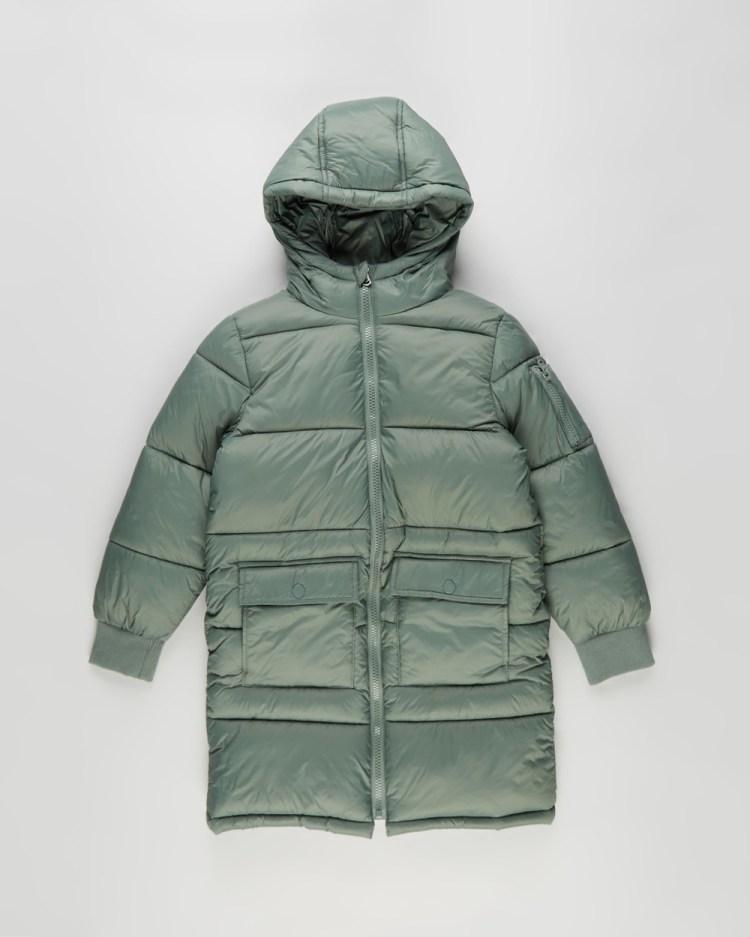 Cotton On Kids Finley Longline Puffer Teens Coats & Jackets Swag Green Kids-Teens