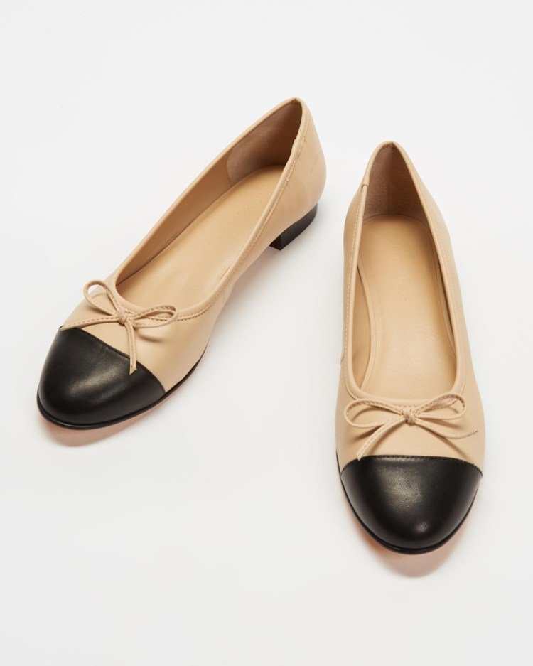 Atmos&Here Angelina Leather Ballet Flats Beige & Black Leather
