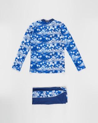 Bluesalt Beachwear Hawaiian Palms Long Sleeve Rash Top and Matching Jammer Pant Set Teens Swimwear Navy Blue