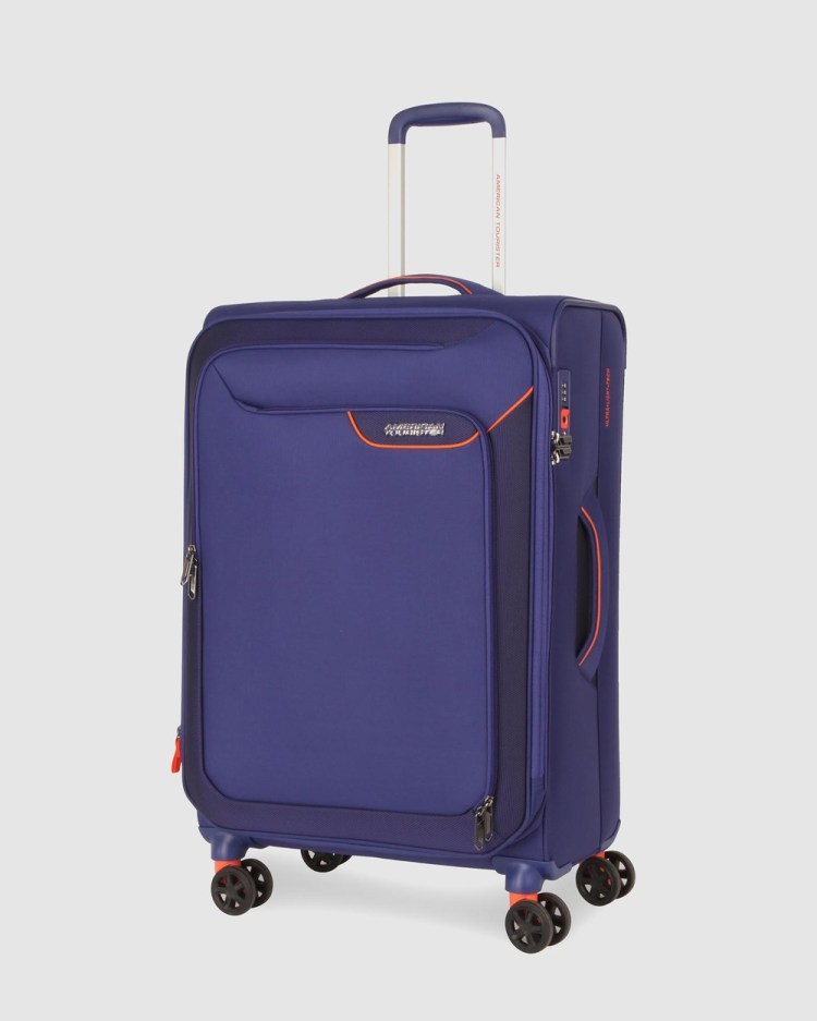 American Tourister Applite 4Security Spinner 71 27 EXP TSA Suitcase Travel and Luggage Bodega Blue 71-27-