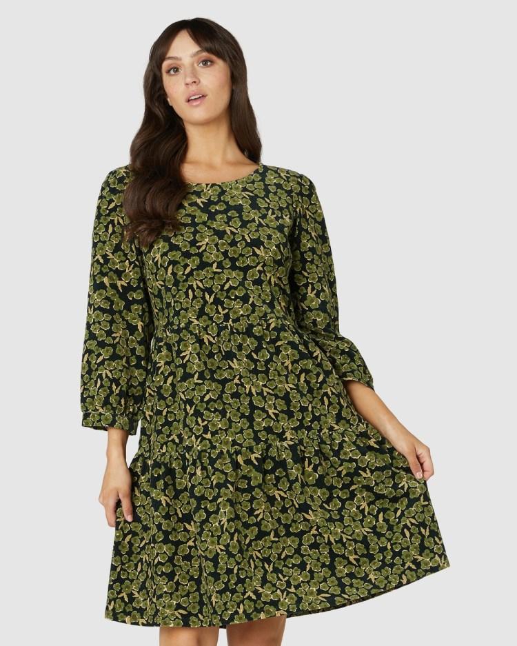 Princess Highway Phoebe Ditsy Cord Dress Dresses Green
