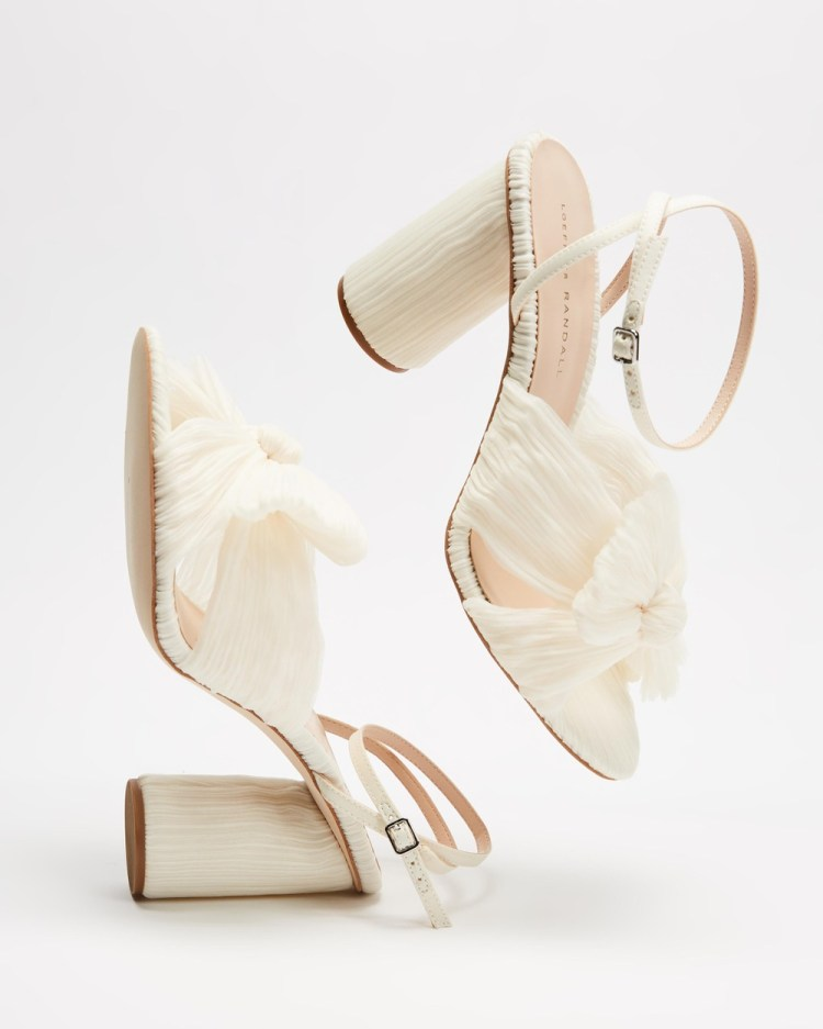 Loeffler Randall Camellia Knot Mules with Ankle Strap Sandals Pearl