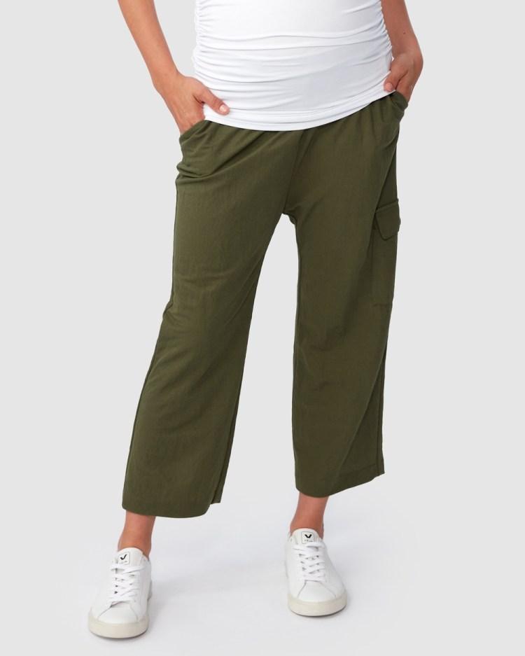 Pea in a Pod Maternity Bethany Cargo Pants Khaki