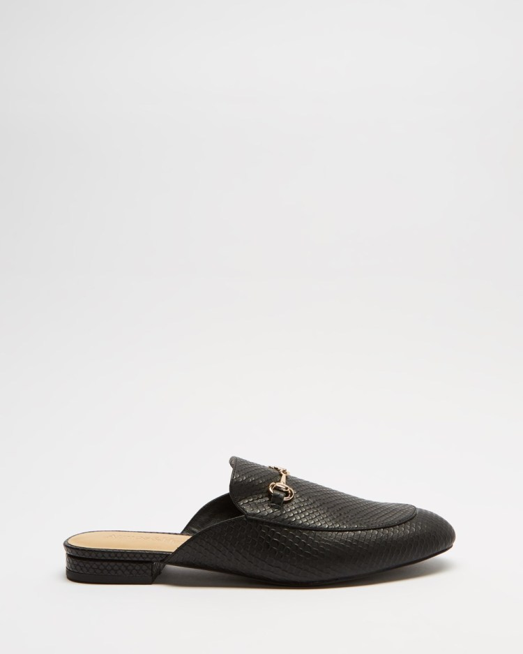 Atmos&Here Georgina Leather Mules Flats Black Snake Embossed Leather