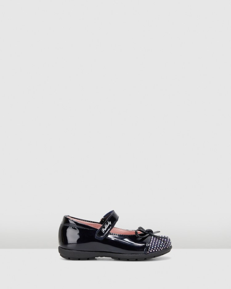 Pablosky Bow Mary Janes Flats Navy Patent