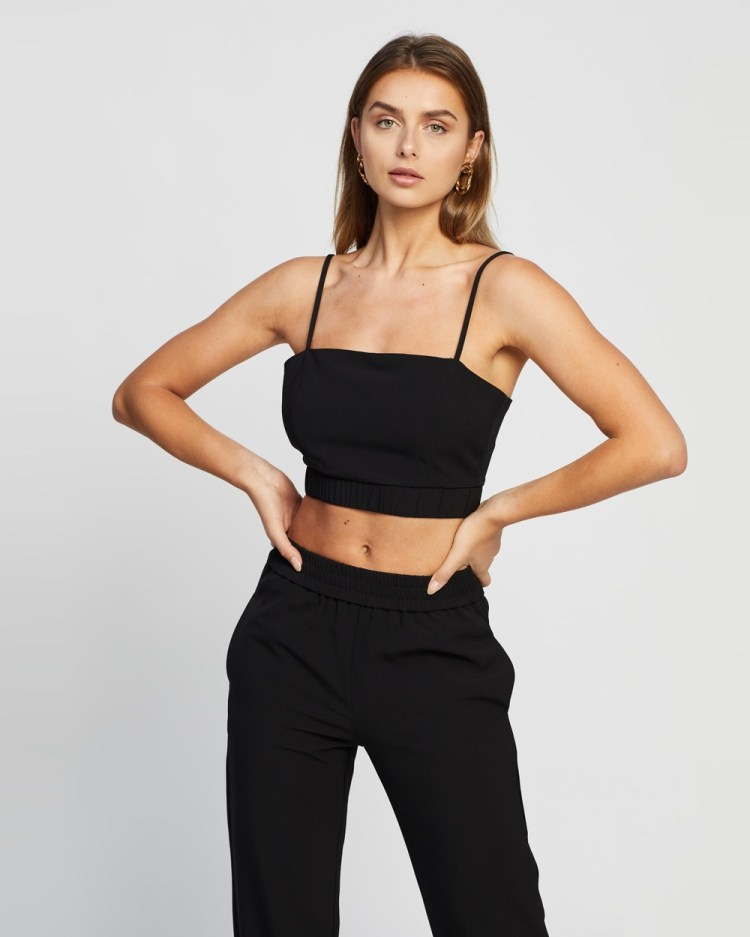 4th & Reckless Aiden Top Cropped tops Black
