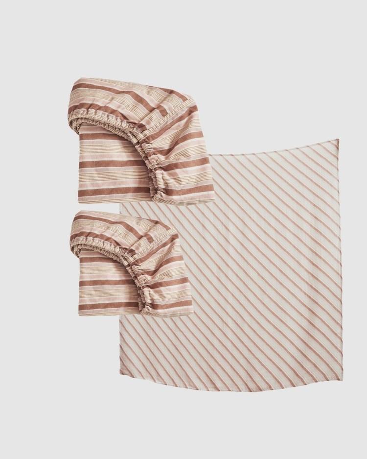 Banabae Ghost Gum Stripe Nursery Bundle Blankets Brown Stripe