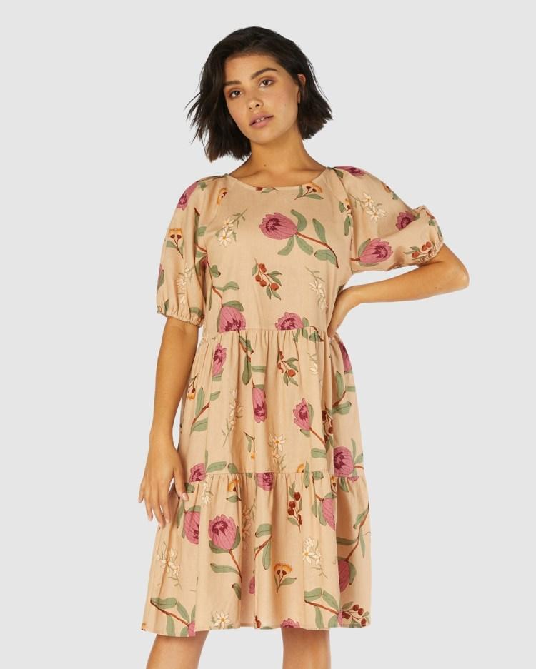 Princess Highway Native Flora Dress Printed Dresses Brown