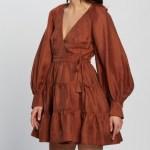 Shona Joy - Elsa Wrap Mini Dress - Dresses (Gingerbread) Elsa Wrap Mini Dress