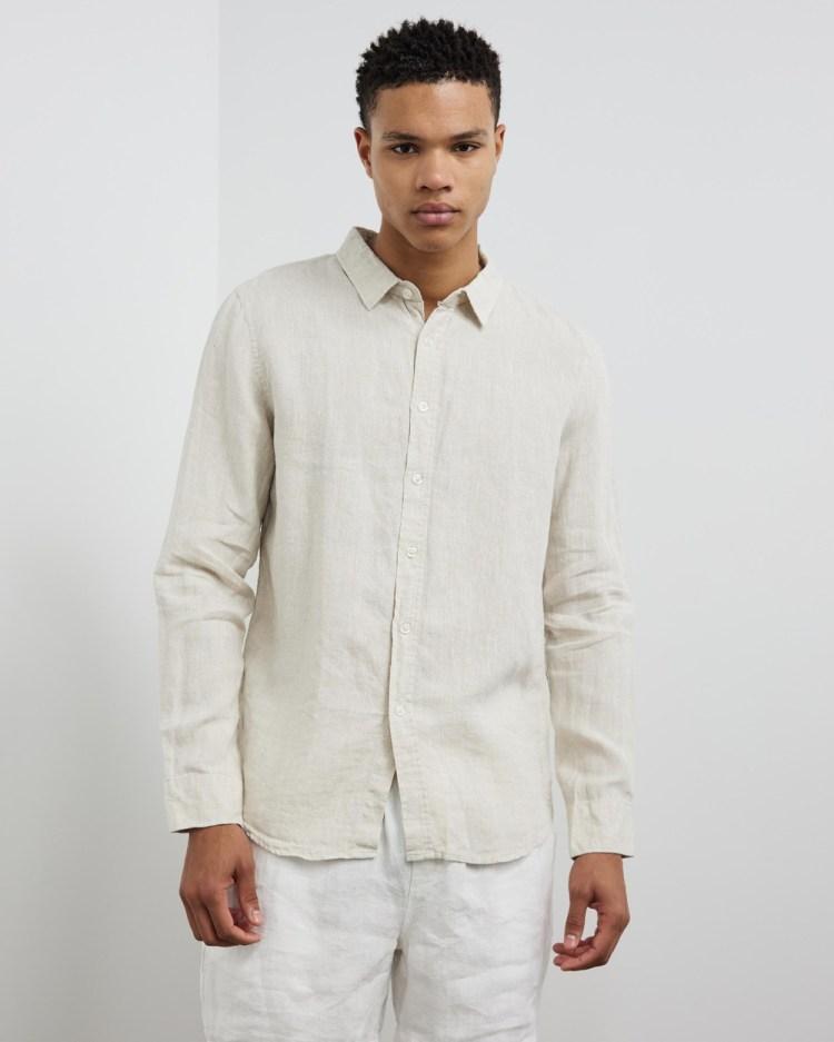 AERE LS Linen Shirt Casual shirts Pale Oat