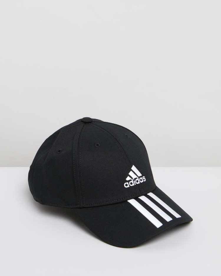 adidas Performance Baseball 3 Stripes Twill Training Cap Unisex Headwear Black, Black & White 3-Stripes