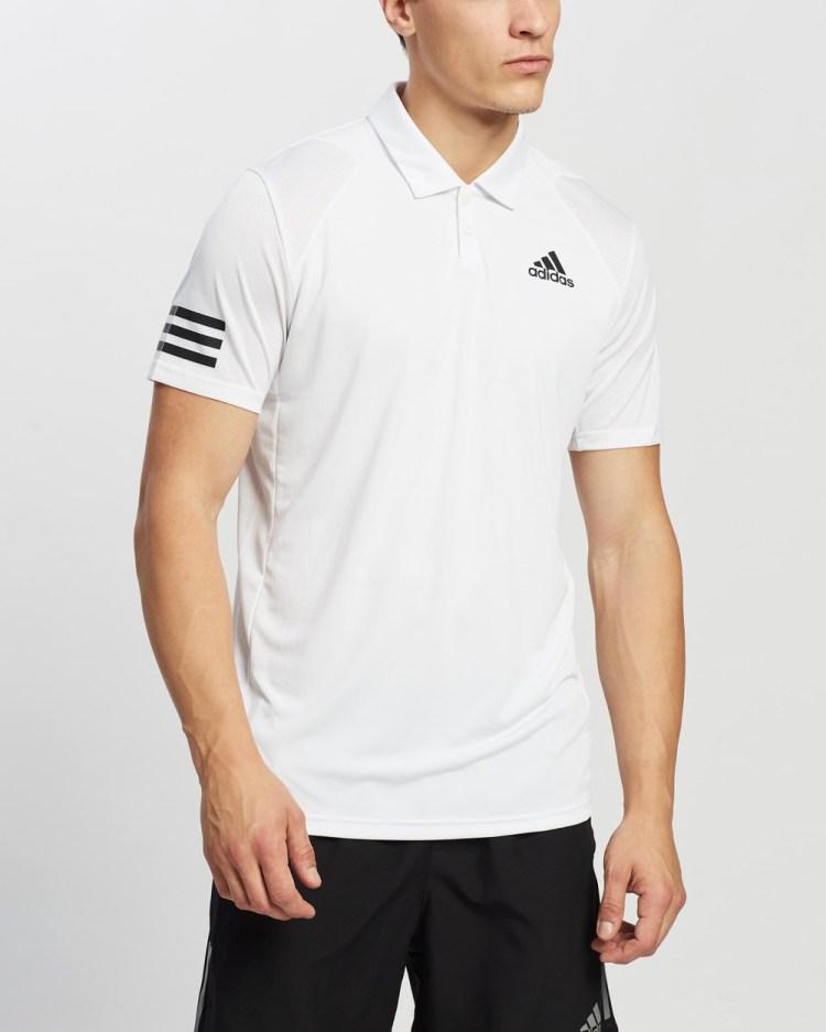adidas Performance Club Tennis 3 Stripes Polo Shirt Shirts & Polos White Black 3-Stripes
