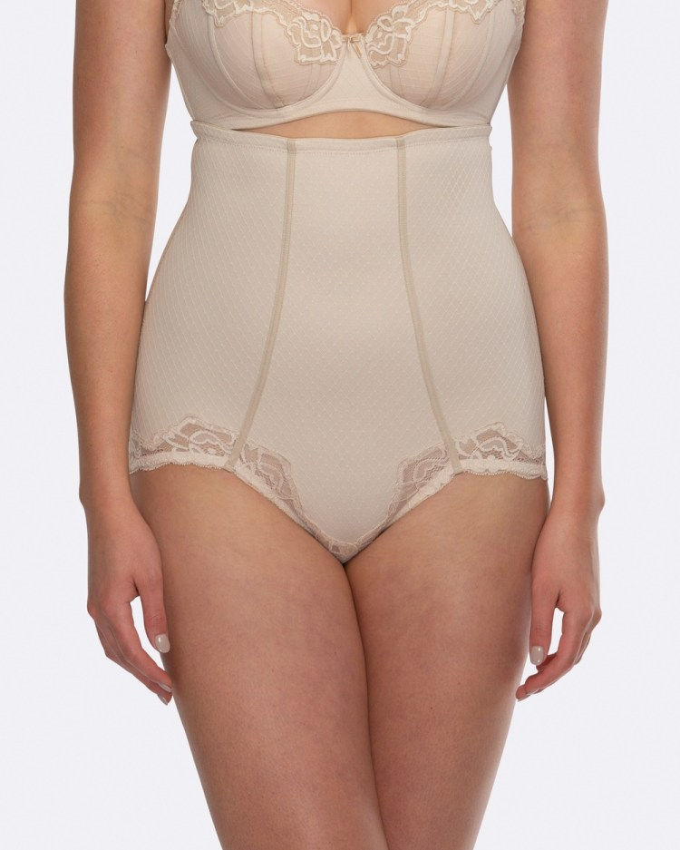 Hush Whisper Firm Control High Waist Lace Brief Briefs Nude / Nude