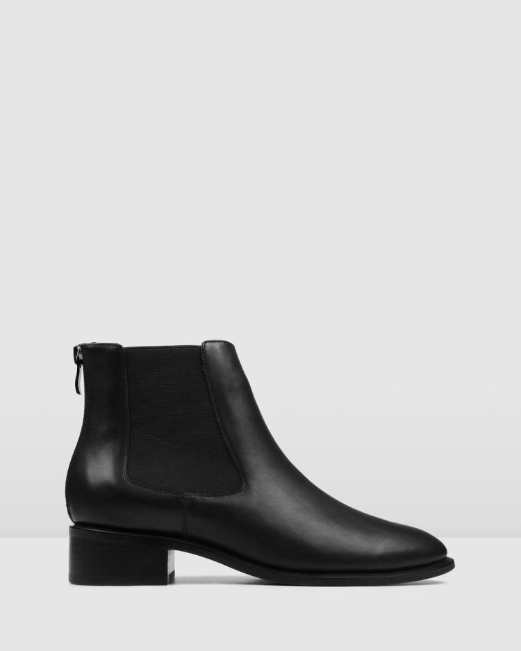 Jo Mercer Milla Flat Ankle Boots BLACK LEATHER