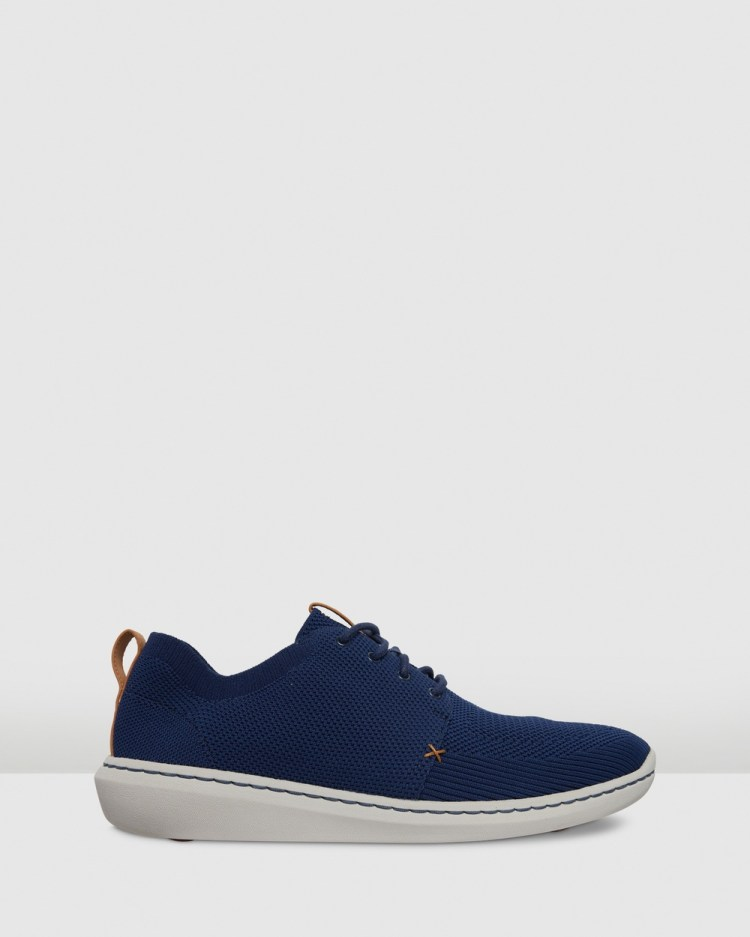 Clarks Step Urban Mix Casual Shoes Navy Textile Knit 6 A Pack Swh