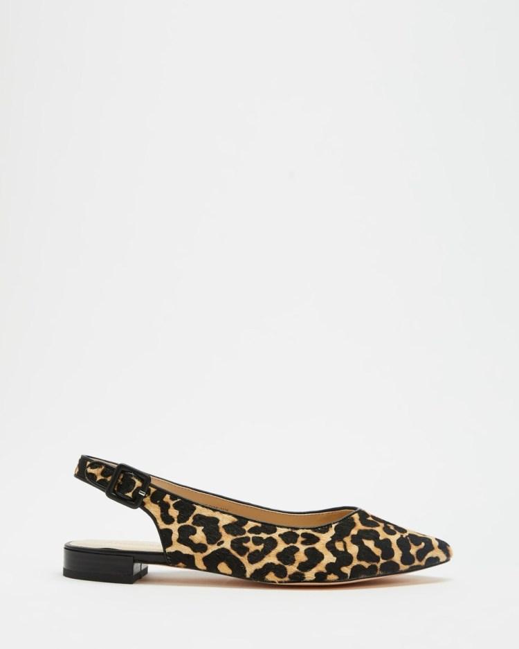 Atmos&Here Charli Leather Slingback Flats Sandals Leopard Ponyhair