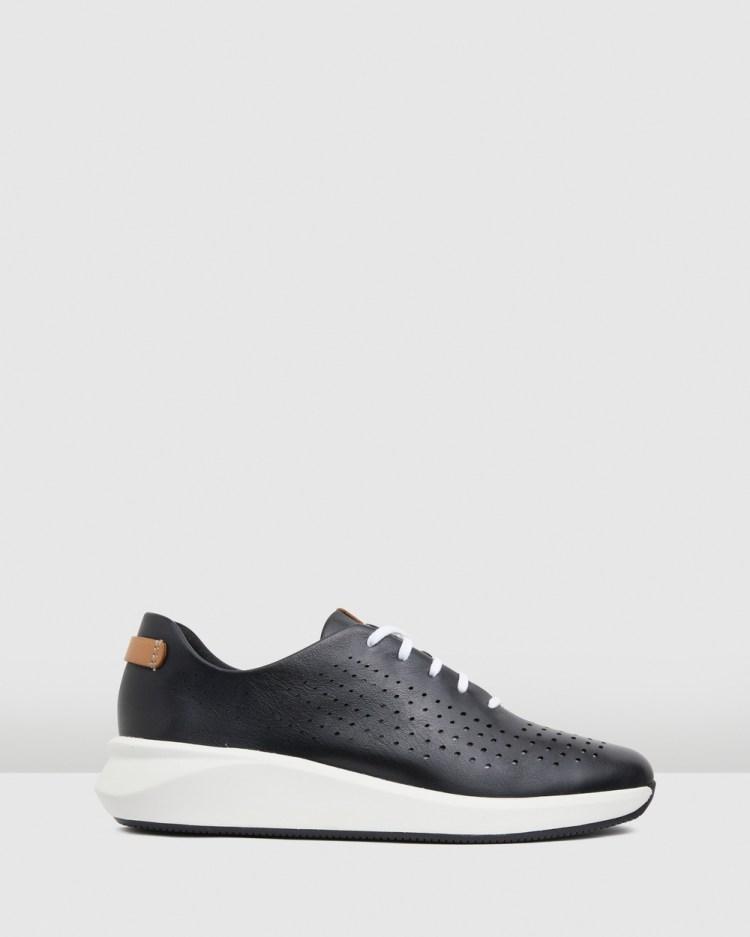 Clarks Un Rio Tie Sneakers Black Leather