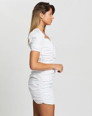 Glamorous - Lace Up Ruched Mini Dress - Dresses (White) Lace Up Ruched Mini Dress