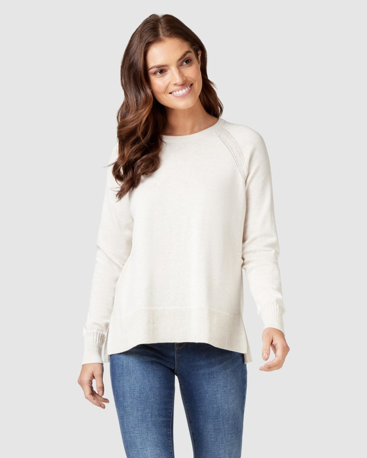 Jeanswest Stella Cotton Knit Oatmeal Marle Jumpers & Cardigans Oatmeal Marle